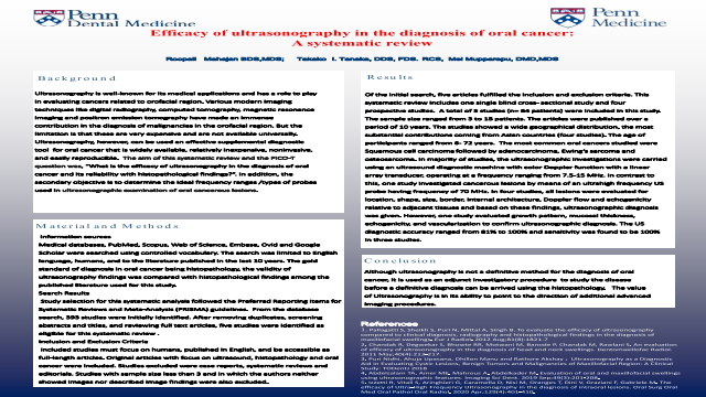 148:Efficacy Of Ultrasonography In The Diagnosis Of Oral Cancer: A Systematic Review[AAOM2021]