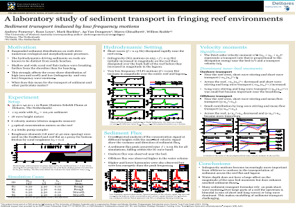 A laboratory study of sediment transport in fringing reef environments: Sediment transport induced by low frequency motions