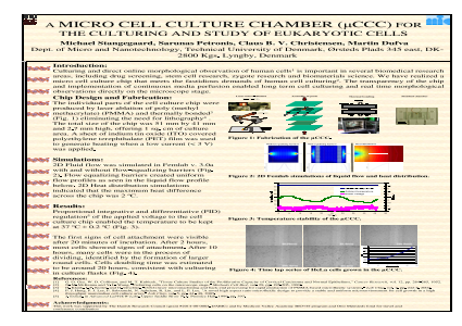 A Micro Cell Culture Chamber (μCCC) for the Culturing and Study of Eukaryotic Cells