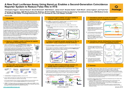 A New Dual Luciferase Assay Using NanoLuc® Enables a Second Generation Coincidence Reporter System to Reduce False Hits in HTS Poster