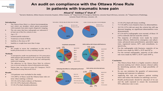 An audit on compliance with the Ottawa Knee Rule in patients with traumatic knee pain