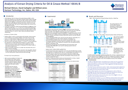 Analysis of Extract Drying Criteria for Oil & Grease Method 1664A/B