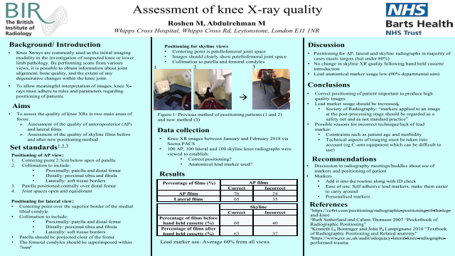 Assessment of knee X-ray quality