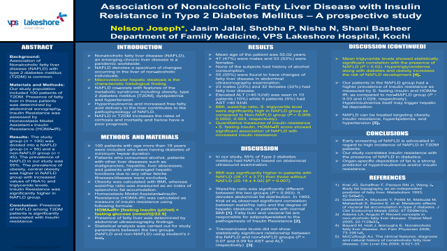 Association of Nonalcoholic Fatty Liver Disease with Insulin Resistance in Type 2 Diabetes Mellitus – A prospective study