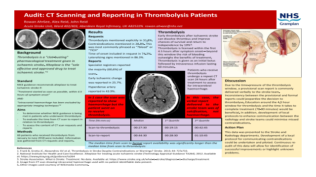 Audit: CT Scanning and Reporting in Thrombolysis Patients