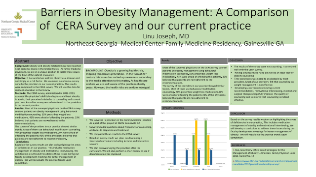 Physician/Fellow: Barriers in Obesity Management: A Comparison of CERA Survey and our current practice