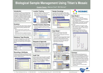 Eposters Biological Sample Management Using Titian S Mosaic