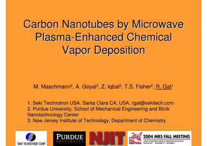 Carbon Nanotubes by Microwave Plasma Enhanced Chemical Vapor Deposition
