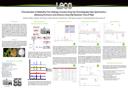 Characterization of Metabolites From Medicago truncatula Using Gas Chromatography Mass Spectrometry—Addressing the Knowns and Unknowns Using High Resolution Time-of-Flight