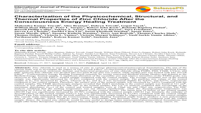 Characterization of the Physicochemical, Structural, and Thermal Properties of Zinc Chloride After the Consciousness Energy Healing Treatment