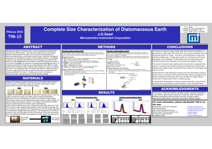 Complete size characterization of diatomaceous earth