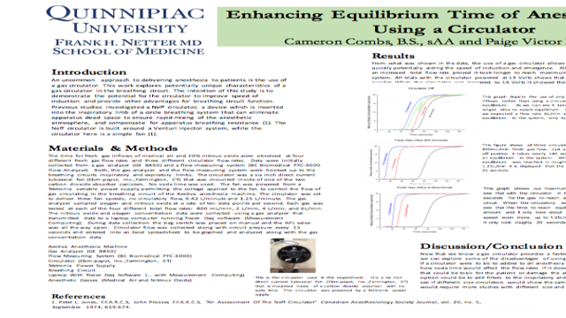 Decreasing Induction Time of Anesthesia Gases Using A Circulator