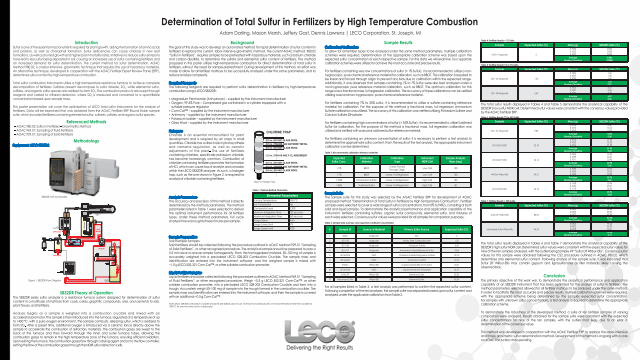 Determination of Total Sulfur in Fertilizers by High Temperature Combustion