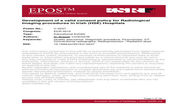 Development of a valid consent policy for Radiological Imaging procedures in Irish (HSE) Hospitals
