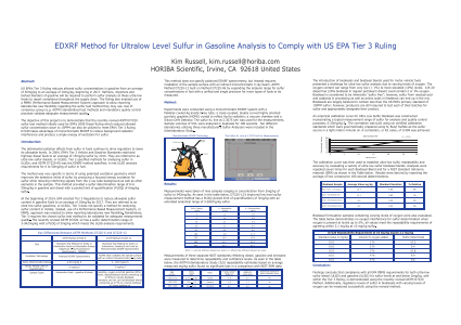 EDXRF Method for Ultralow Level Sulfur in Gasoline Analysis to Comply with US EPA Tier 3 Ruling