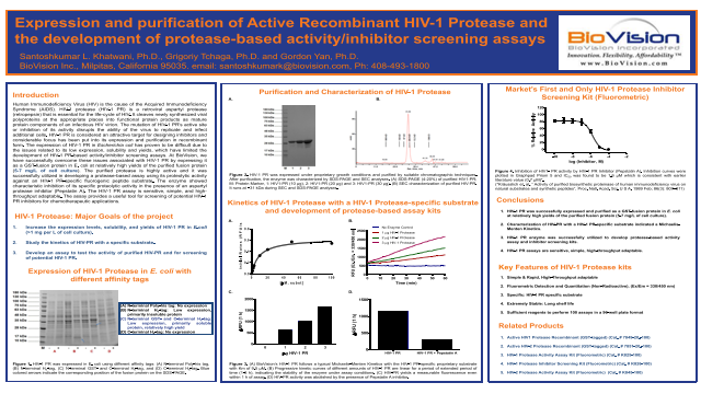 Expression and purification of Active Recombinant HIV-1 Protease and the development of protease-based activity/inhibitor screening assays