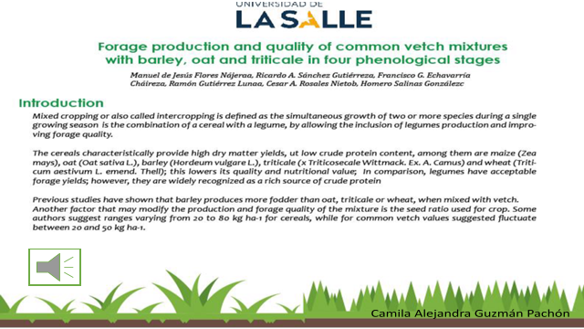 Forage production and quality of common vetch mixtures with barley, oat and triticale in four phenological stages