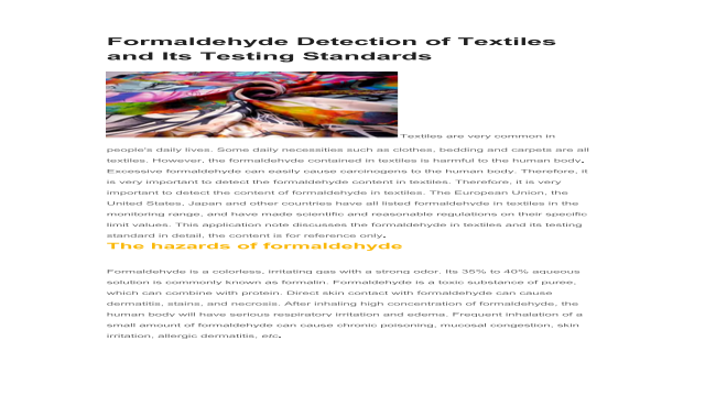 Formaldehyde Detection of Textiles and Its Testing Standards