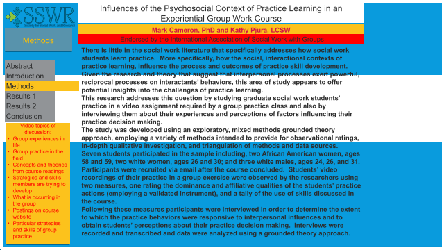 Influences of the Psychosocial Context of Practice Learning in an Experiential Group Work Course