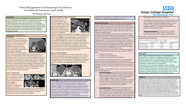 Initial Management and Radiologic Surveillance of Incidental Pancreatic Cysts Audit