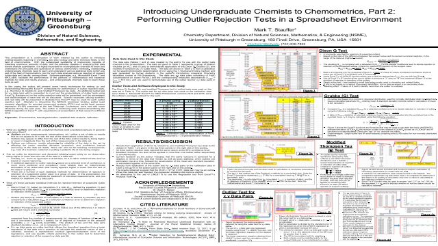 Introducing Undergraduate Chemists to Chemometrics, Part 2: Performing Outlier Rejection Tests in a Spreadsheet Environment