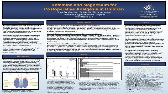 Ketamine and Magnesium for Postoperative Analgesia in Children