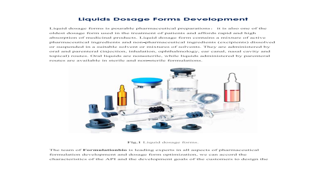 Liquids Dosage Forms Development