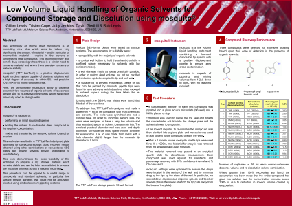 Low Volume Liquid Handling of Organic Solvents for Compound Storage and Dissolution using mosquito
