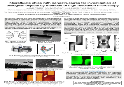 Microfluidic chips with nanostructures for investigation of biological objects by methods of high resolution microscopy