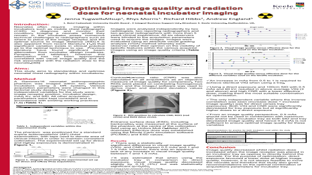 Optimising image quality and radiation dose for neonatal incubator imaging