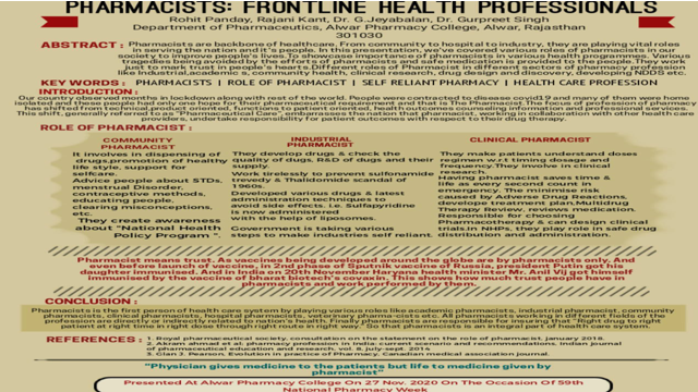 Pharmacist :Frontline health professionals