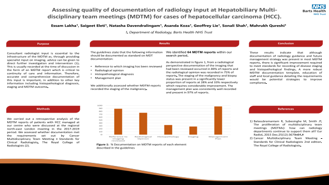 Assessing quality of documentation of radiology input at Hepatobiliary Multi-disciplinary team meetings (MDTM) for cases of hepatocellular carcinoma (HCC).