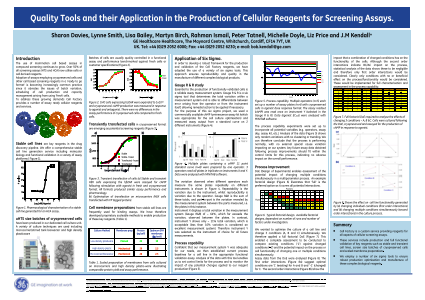 Quality Tools and their Application in the Production of Cellular Reagents for Screening Assays.