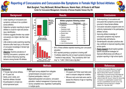 Reporting of concussions and concussion-like symptoms in female high school athletes