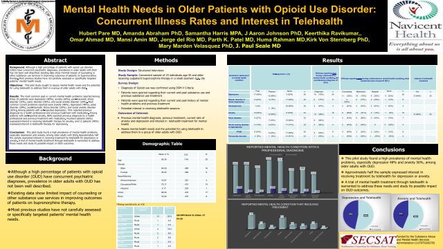 Resident: Mental Health Needs in Older Patients with Opioid Use Disorder: Concurrent Illness Rates and Interest in Telehealth
