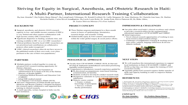 Striving for Equity in Surgical, Anesthesia, and Obstetric Research in Haiti: A Multi-Partner, International Research Training Collaboration