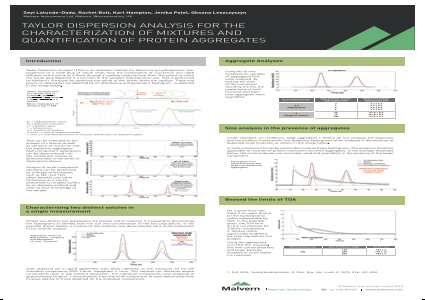 Taylor Dispersion Analysis for the characterization of mixtures and quantification of protein aggregates