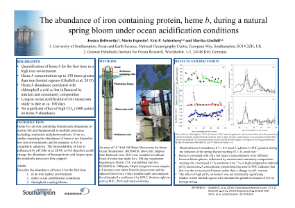 The abundance of iron containing protein, heme b, during a natural spring bloom under ocean acidification conditions