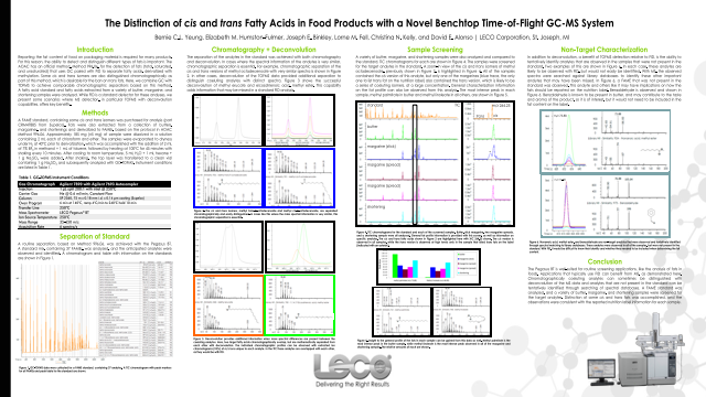 The Distinction of cis and trans Fatty Acids in Food Products with a Novel Benchtop Time-of-Flight GC-MS System