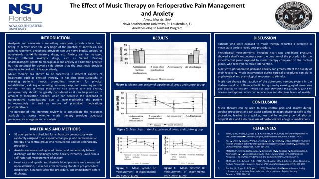The Effect of Music Therapy on Perioperative Pain Management and Anxiety