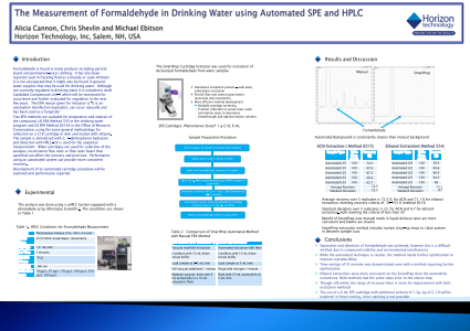 The Measurement of Formaldehyde in Drinking Water using Automated SPE and HPLC