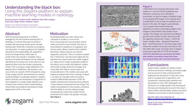 Understanding the black box: Using the Zegami platform to explain machine learning models in radiology