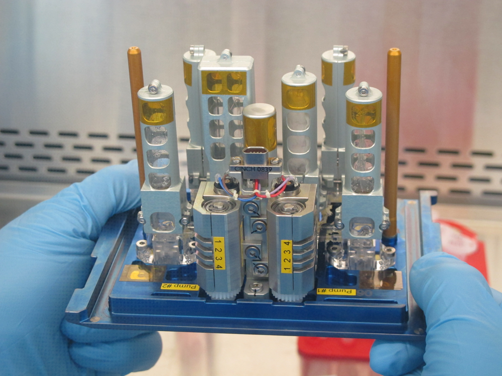 Front plate of the TRIPLE LUX experiment hardware. Credit: C. Thiel and Airbus DS