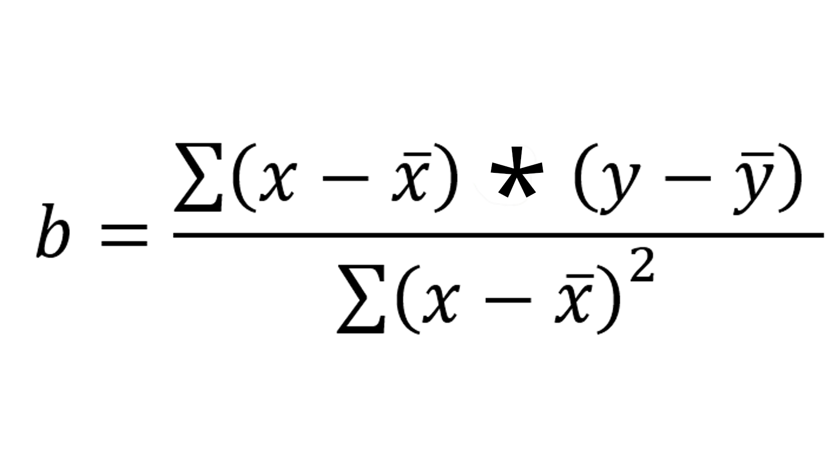 An equation for calculating the coefficient, b.