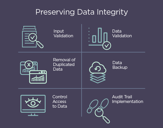 A graphic showing practices to preserve data integrity