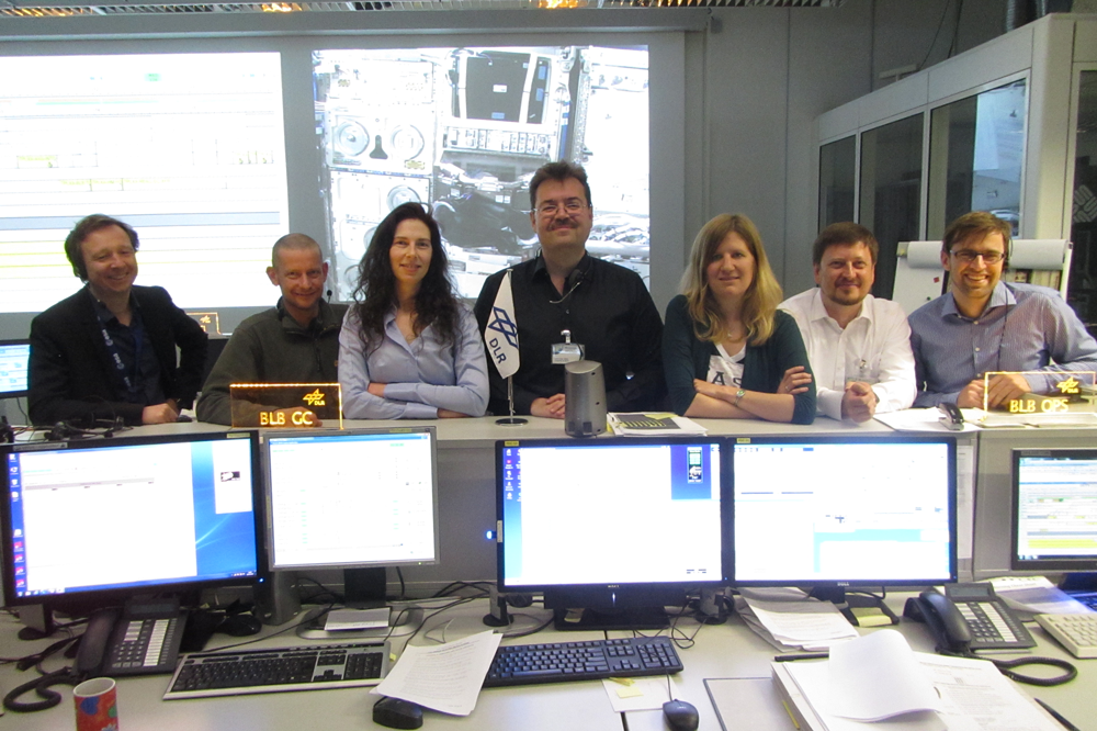 TRIPLE LUX team in the German Aerospace Center BIOLAB ground control after the TRIPLE LUX experiment. Credit: Oliver Ullrich