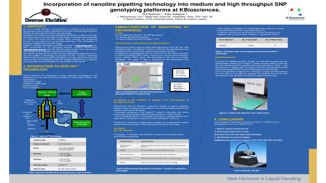 Incorporation of Nanolitre Pipetting Technology into Medium and High Throughput SNP Genotyping Platforms at KBiosciences