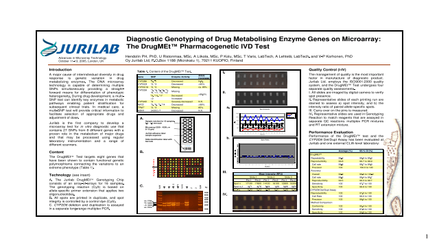 Diagnostic Genotyping of Drug Metabolising Enzyme Genes on Microarray: The DrugMEt™ Pharmacogenetic IVD Test