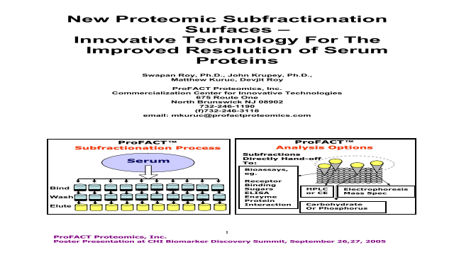 New Proteomic Subfractionation Surfaces – Innovative Technology for the Improved Resolution of Serum Proteins