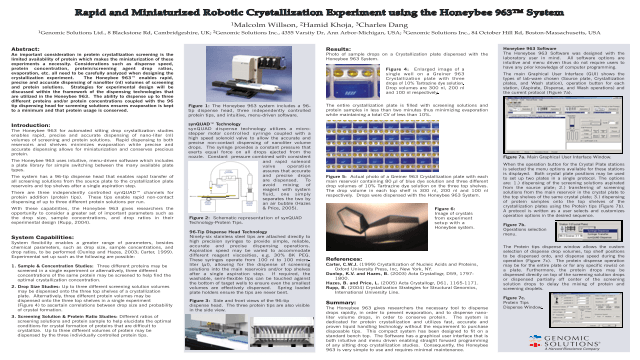 Rapid and Miniaturized Robotic Crystallization Experiment using the Honeybee 963™ System